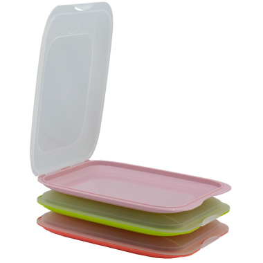 3x stapelbare Aufschnittboxen in den Farben: Lachs, Grün und Rosa