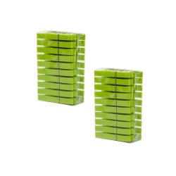 Wäscheklammerset-hänge-korb mit 40 Klammern PP-Kunststoff mit Haken zum hängen Farbe grün