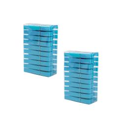Wäscheklammerset-hänge-korb mit 40 Klammern PP-Kunststoff mit Haken zum hängen Farbe blau