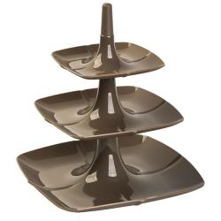 Etagere 3 stöckig Kuchenständer Dessertständer Tortenhalter Käseplatte Kunststoff Farbe Braun