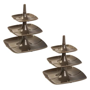2x Etagere 3 stöckig Kuchenständer Dessertständer Tortenhalter Käseplatte Kunststoff Farbe Braun