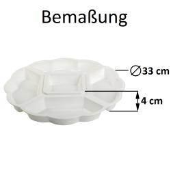 2x Servierplatte Snackschale Kunststoff, Vorspeisenteiler, 5 Fächer, Beige 33 cm