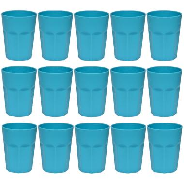 15x Kunststoffbecher Blau Trinkbecher Party-Becher Plastik Trink-Gläser Mehrweg