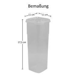 2x Frischhaltedose mit Deckel 11 x 11 x 27,5 cm Nudelaufbewahrungsbox Pasta Vorrats Behälter Transparent