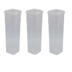 3x Frischhaltedose mit Deckel 11 x 11 x 27,5 cm...