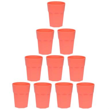 10x Kunststoffbecher Apricot Trinkbecher Plastik Outdoor Mehrweg Becher