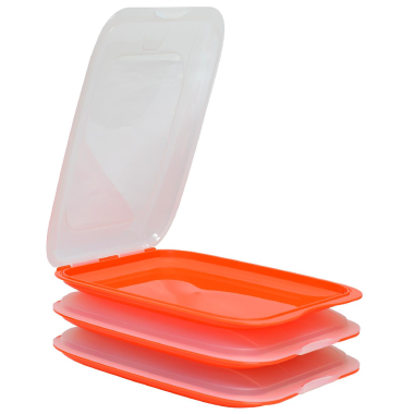 3x Stapelbare Aufschnittbox Frischhaltedose Wurst Behälter Aufschnittdose Orange