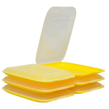6x Stapelbare Aufschnittbox Frischhaltedose Wurst Behälter Aufschnittdose Gelb