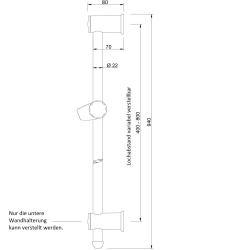 Duschstange variablen Lochabstand Brauseset Wandstange Brausestange Dusche 94cm