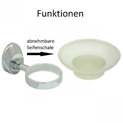 Design Seifenschale mit matiertem Glas Seifenablage Seifenhalter Ablage - Serie Chrome