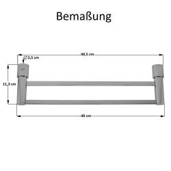 Design Doppelte Handtuchstange Handtuchhalter Halter Stange-Serie Chrome 40 cm