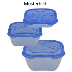 3er Packung Frischhaltedose Aufbewahrungsbehälter aus transparentem Kunststoff mit Deckel für Lebensmittel blau