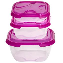 3er Packung Frischhaltedose Aufbewahrungsbehälter aus transparentem Kunststoff mit Deckel für Lebensmittel pink