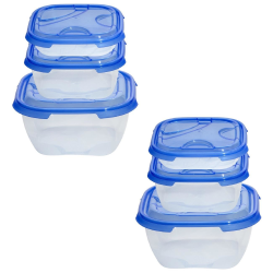 2x 3er Packung Frischhaltedose Aufbewahrungsbehälter aus transparentem Kunststoff mit Deckel für Lebensmittel blau