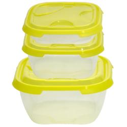 2x 3er Packung Frischhaltedose Aufbewahrungsbehälter aus transparentem Kunststoff mit Deckel für Lebensmittel gelb