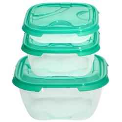 2x 3er Packung Frischhaltedose Aufbewahrungsbehälter aus transparentem Kunststoff mit Deckel für Lebensmittel grün