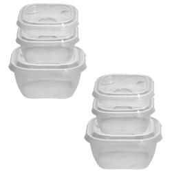 2x 3er Packung Frischhaltedose Aufbewahrungsbehälter aus transparentem Kunststoff mit Deckel für Lebensmittel hell