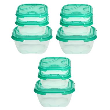 3x 3er Packung Frischhaltedose Aufbewahrungsbehälter aus transparentem Kunststoff mit Deckel für Lebensmittel grün
