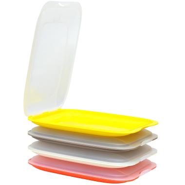 4er Set stapelbare Aufschnittbox Frischhaltedose Wurst Aufschnittdose Farbmix
