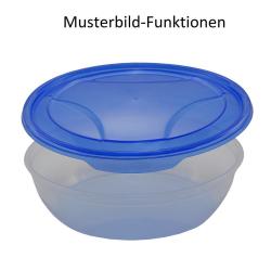 3er Packung runde Frischhaltedose Aufbewahrungsbehälter aus transparentem Kunststoff mit Deckel für Lebensmittel in Blau