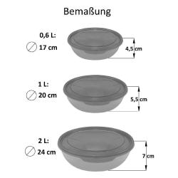 3x 3er Packung runde Frischhaltedose Aufbewahrungsbehälter aus transparentem Kunststoff mit Deckel für Lebensmittel in Lila