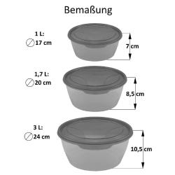 3er Packung runde Frischhaltedose Aufbewahrungsbehälter aus transparentem Kunststoff mit Deckel für Lebensmittel in Grün