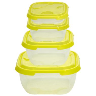 4er Packung Frischhaltedose Aufbewahrungsbehälter aus transparentem Kunststoff mit Deckel für Lebensmittel Farbe Gelb