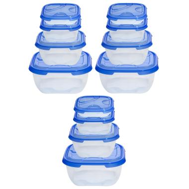 3x 4er Packung Frischhaltedose Aufbewahrungsbehälter aus transparentem Kunststoff mit Deckel für Lebensmittel Farbe Blau