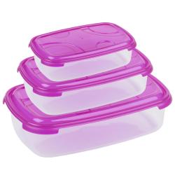 3-teilige rechteckige Frischhaltedose mit Deckel Vorratsdosen Behälter Aufbewahrungsbox Pink