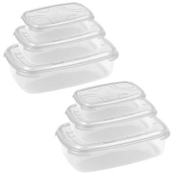 2x 3-teilige rechteckige Frischhaltedose mit Deckel...