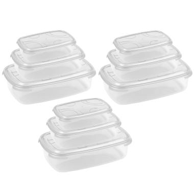 3x 3-teilige rechteckige Frischhaltedose mit Deckel Vorratsdosen Behälter Aufbewahrungsbox Transparent