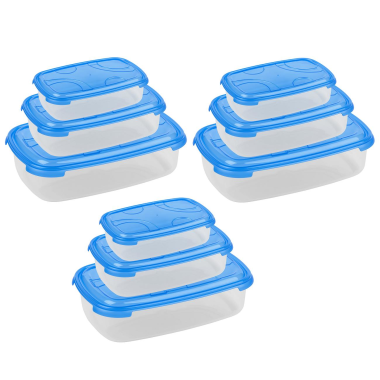 3x 3-teilige rechteckige Frischhaltedose mit Deckel Vorratsdosen Behälter Aufbewahrungsbox Blau