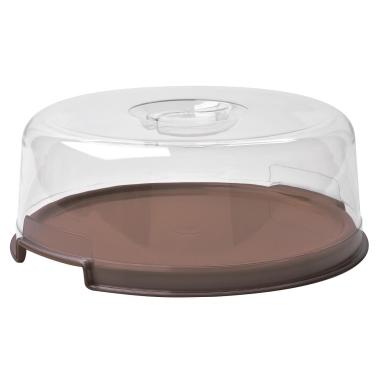 Tortenplatte mit Haube Deckel Kuchenbox Transport-Box Tortenservierplatte rund Kunststoff  in Braun