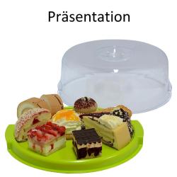 2 Tortenplatten mit Haube Deckel Kuchenbox Transport-Box Tortenservierplatte rund Kunststoff  in Weiß