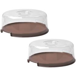 2 Tortenplatten mit Haube Deckel Kuchenbox Transport-Box...