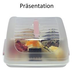 eckige Transport-Kuchenbox aus Kunststoff mit Tragegriff und Verschlussdeckel