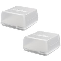2x eckige Transport-Kuchenbox aus Kunststoff mit...