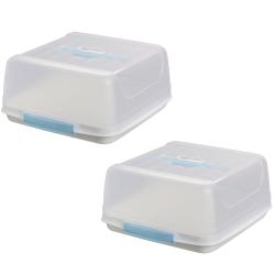 2x eckige Transport-Kuchenbox aus Kunststoff mit Tragegriff und Verschlussdeckel