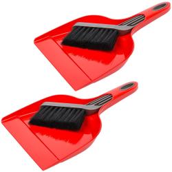 2x Kehrgarnitur Kehrschaufel Handfeger Kehrset aus Kunststoff