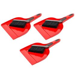 3x Kehrgarnitur Kehrschaufel Handfeger Kehrset aus Kunststoff
