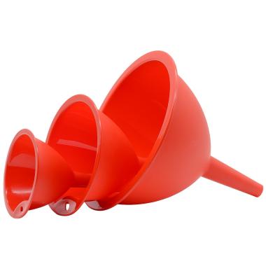 Trichtersatz Küchentrichter 3 Stück Kochtrichter Kunststoff in Farbe Rot