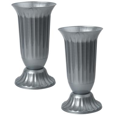2x Außen Vase Garten Grab rund robuster Kunststoff mit abnehmbarem Stand Fuß