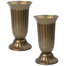2x Außen Vase Garten Grab rund robuster Kunststoff...