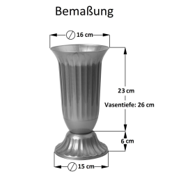 3x Außen Vase Garten Grab rund robuster Kunststoff mit abnehmbarem Stand Fuß