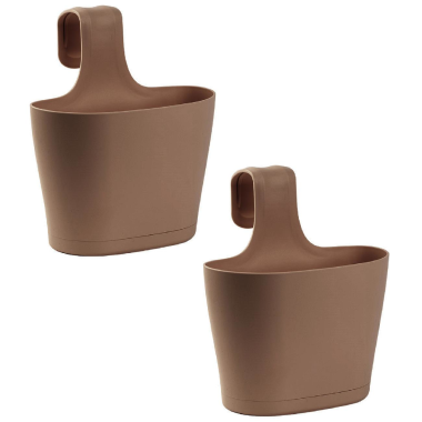 2x Blumenkasten oval 2,8 Liter Balkon Übertopf Pflanzkasten Blumentopf zum Hängen mit 1. Bügel und Wasserspeicher Braun