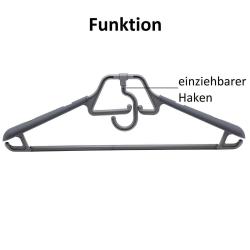 6 Kleiderbügel drehbarer klappbarer Haken Anti-Rutsch ausziehbare Auflage