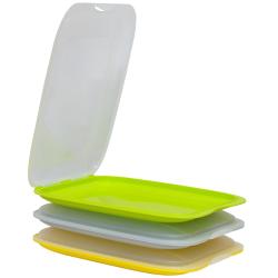 3er Set Gelb Grau Grün stapelbare Aufschnittbox...