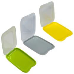 3er Set Gelb Grau Grün stapelbare Aufschnittbox Frischhaltedose Aufschnittdose