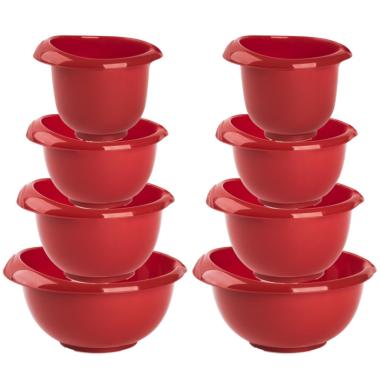2x Backschüsseln Rührschüssel Quirltopf Salatschüssel stapelbar rutschfest Silikonfüße Einhandgriff Ausgießer Kunststoff 4er-Set Rot