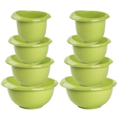 2x Backschüsseln Rührschüssel Quirltopf Salatschüssel stapelbar rutschfest Silikonfüße Einhandgriff Ausgießer Kunststoff 4er-Set Grün